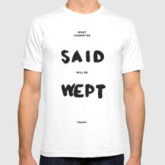 What can not be said will be wept - Sappho Mens Fitted Tee MEDIUM White