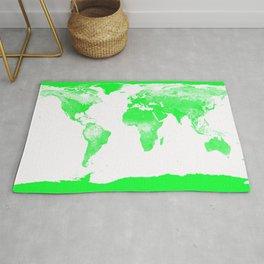 woRld Map Bright Green & White Rug