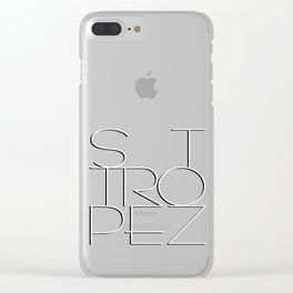 St. Tropez in white with black shadow. Clear iPhone Case