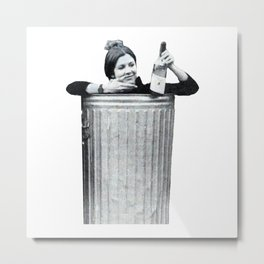 Carrie Fisher in a Trashcan Metal Print