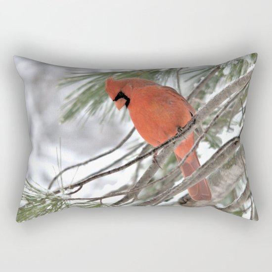 Snow Globe Cardinal (square) Rectangular Pillow