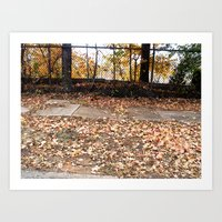 fall leaves on the sidewalk Art Print