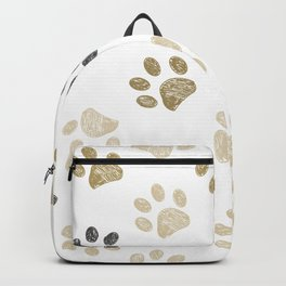 Doodle grey and gold paw print seamless fabric design repeated pattern background Backpack
