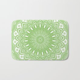 Light Lime Green Mandala Simple Minimal Minimalistic Bath Mat