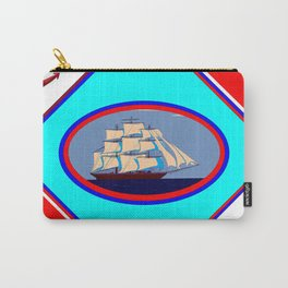 A Nautical Oval Ship and Anchors, red, white and blue Carry-All Pouch