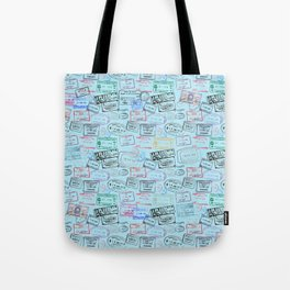 Worldly Traveler - Passport Pattern - Light Blue Tote Bag
