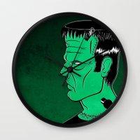 frankenstein Wall Clocks featuring Frankenstein by JoanaRosaC