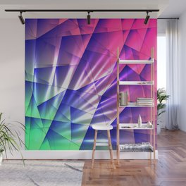 Bright glare of crystals on irregularly shaped blue and violet triangles. Wall Mural