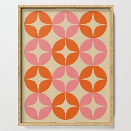 Mid Century Modern Pattern in Pink and Orange Serving Tray
