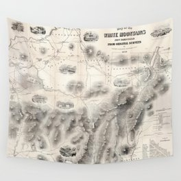 Vintage Map of The White Mountains (1864) Wall Tapestry