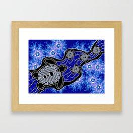 Baby Sea Turtles - Aboriginal Art Framed Art Print