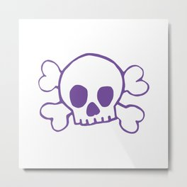 Purple Skull and Crossbones Pattern and Print Metal Print