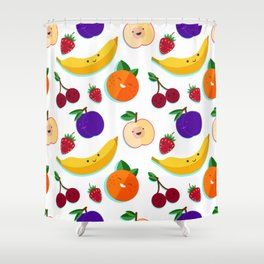happy fruits and berries Shower Curtain