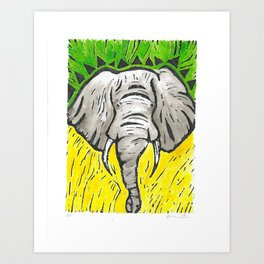 Friends of David Sheldrick Wildlife Trust - Yellow Green & Gray Elephant Fine Art Print Art Print