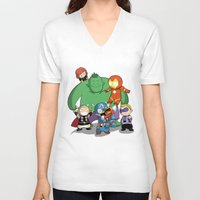 avenger V-neck T-shirts featuring The Baby Avenger-s by Tsuki-Nekota