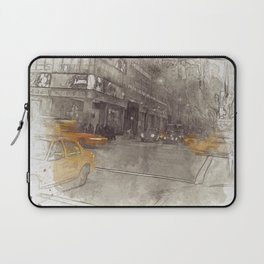 NYC Yellow Cabs Night - SKETCH Laptop Sleeve