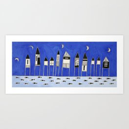 Tiny houses and fish in blue Art Print