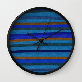 Denim Stripes in Blue, Tan, Cyan & Chocolate Wall Clock