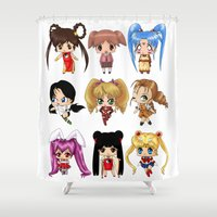 anime Shower Curtains featuring Anime Pigtails by artwaste