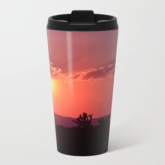 Desert Sunset Silhouettes Metal Travel Mug