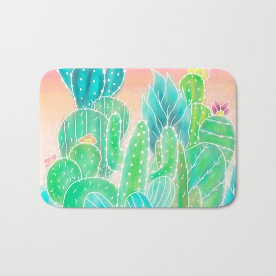 Modern tropical exotic summer cactus illustration pink ombre watercolor Bath Mat
