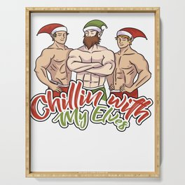 Chillin With My Elves Funny Christmas design Gift Serving Tray
