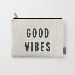 Distressed Ink Effect Good Vibes | Black on Off White Carry-All Pouch