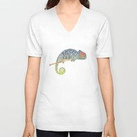 chameleon V-neck T-shirts featuring Chameleon by soycocon