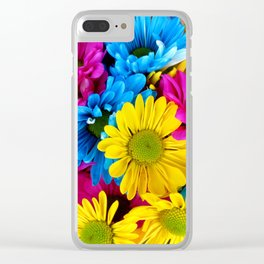 Daisy Flowers, Petals, Blossoms - Blue Yellow Pink Clear iPhone Case