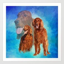 Irish Setter Dogs collage Art Print