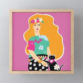 The Cat Lady Framed Mini Art Print