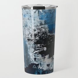 Breathe: colorful abstract in black, blue, purple, gold and white Travel Mug