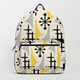 Mid Century Modern Atomic Wing Composition Yellow & Grey Backpack