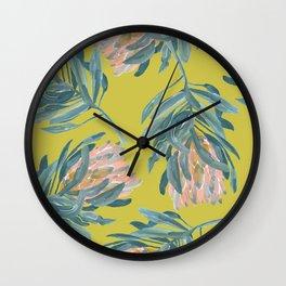Mustard Protea Repeat Wall Clock