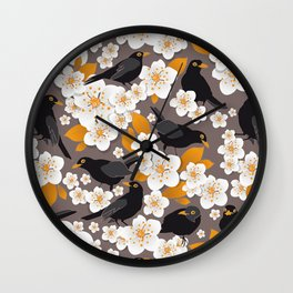 Waiting for the cherries II // Blackbirds brown background Wall Clock