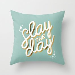Slay the Day – Mint & Gold Palette Throw Pillow
