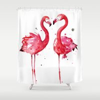 flamingo Shower Curtains featuring Flamingo by Sam Nagel
