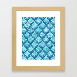 MERMAID SPARKLE Fish Scales Scallop Watercolor Framed Art Print