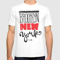 Brooklyn New York Mens Fitted Tee White MEDIUM