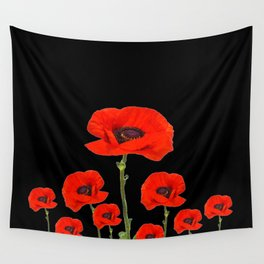 RED-ORANGE POPPIES DESIGN ON BLACK ART Wall Tapestry