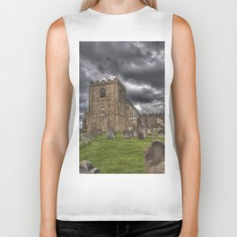 St. Mary's Church in Whitby on the Yorkshire Coast in England Biker Tank