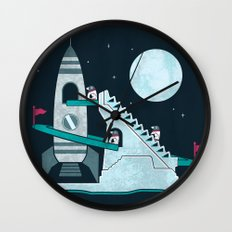 Penguin Space Race Wall Clock