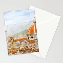 Italy Florence Cathedral Duomo watercolor painting Stationery Cards