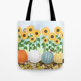 chipmunk, red breasted nuthatches, heirloom pumpkins, & sunflowers Tote Bag