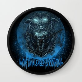 Wolf in a Sheep's Clothing (revision) Wall Clock