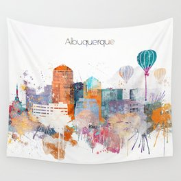 Colorful Albuquerque watercolor skyline Wall Tapestry