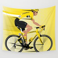 tour de france Wall Tapestries featuring France Yellow Jersey by Wyatt Design