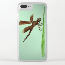 Mosquito on blade of grass Clear iPhone Case
