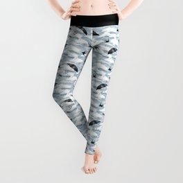 April Shower (Blue Grisaille) Leggings
