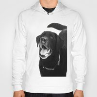 labrador Hoodies featuring Labrador Happy by Jennifer Warmuth Art And Design